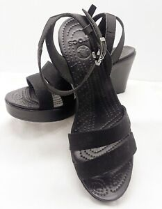 Crocs Leigh Ankle Strap Wedge Sandal Womens Size 10 Black NEW w/o Tags
