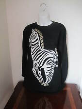 New Women's Top Sweater Shirt Black With Animal Zebra Design Size M Made in USA