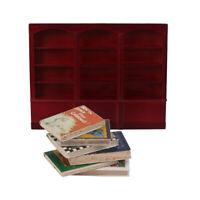 Gabinete de Madera Miniatura con Libros para Casa de Muñeca Escala 1/12