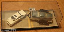 1/64TH SCALE RETRO 2 CAR SET WITH TRAILER & DISPLAY CASE DUB CITY DIE CAST AUTOS