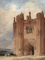 GOTHIC MANSION & FIGURE Antique Watercolour Painting c1840