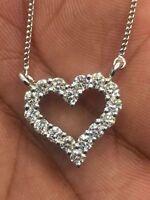 Pave 1,28 Cts F/VS Runde Brilliant Cut Diamanten Herz Anhänger In 750 18K Gold