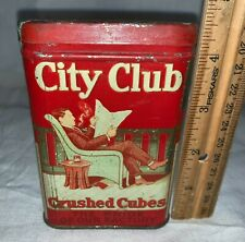 ANTIQUE CITY CLUB CRUSHED CUBE TIN LITHO VERTICAL POCKET TOBACCO TIN VARIATION 2