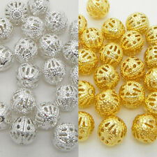 Silver & Gold Filigree Metal Round Beads Spacer 4mm 6mm 8mm Jewelry Making Craft
