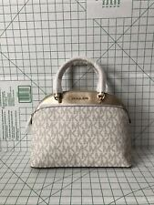 Michael Kors Emmy Large Dome Satchel Vanilla PVC pale gold MK Handbag