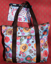 VGUC LeSportsac Extra Large Zip Top Tote Floral Print Brown Trim w/Pouch