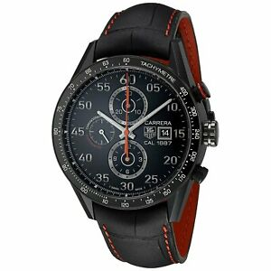 Tag Heuer CAR2A80.FC6237 Carrera Men's Chronograph Automatic Black Leather Watch