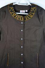 Quacker Factory Jacket Sz L Zebra print beading at neck and sleeves Dark Brown