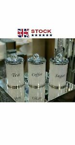 XL Crushed Diamond Crystal Silver Sparkly Tea Coffee Sugar Jars Canisters Large