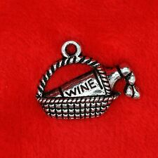 4 x Tibetan Silver Wine Bottle in Basket Charm Pendant Finding Bead Making