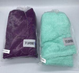 *2* Turbie Twist Microfiber Prints Hair Towel  NEW! Sea Foam Green & Purple