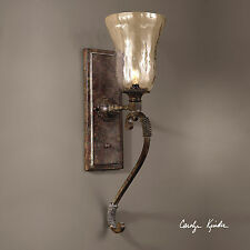 "GALEANA XXL 24"" IRON BLOWN SEEDED GLASS WALL SCONCE LIGHT ROPE METAL DETAIL"