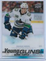 Quinn Hughes 2019 20 Upper Deck Series 1 Young Guns Clear Cut RC 249# 1:288 Odds