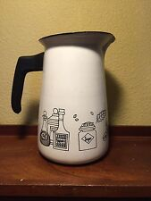 Vintage 50's Mid Century Enamel Water Pitcher With Food Drawings