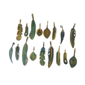 Antiqued Patina Green Alloy Leaf Charms Pendants Crafts For Jewellery Making