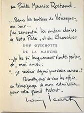 LOUIS ICART Rare DON QUICHOTTE éo Bel envoi AUTOGRAPHE SIGNÉ à Maurice ROSTAND