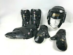 7 pc. Lightning Sparring Gear Set Headgear Gloves Shin Foot Guards Pads Adult