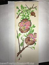 "Original Japanese Woodblock Print Unknown Artist Vertical Red Flower Print 16"""