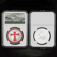 Silver Coin Knights Templar Cross Soldiers Of Christ Masonic Collect Coin Pb Box