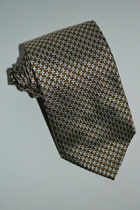 NWT $175 Hickey Freeman Collection Olive/Platinum Houndstooth-Lk Silk Tie Italy