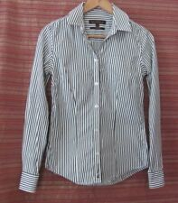 BEN SHERMAN Size XS Womens Navy Blue & White Striped Long Sleeve Shirt