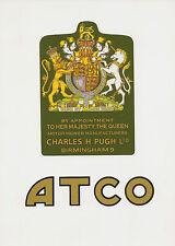 ATCO Vintage Mower Elizabeth II Coat of Arms Decal