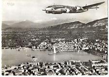 1950 Air India International Lockheed Constellation over Geneve Photo Postcard