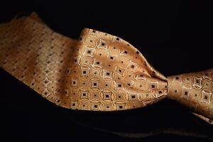 Ermenegildo Zegna Satin Tropical Orange Texture Elliptical Diamond Silk Tie NR