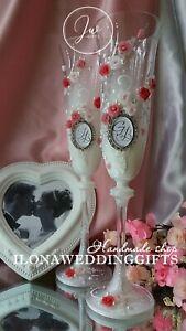 Personalized Wedding Toast Wine Glass Vintage Old Roses Romantic Elegant Modern