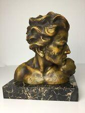 Art Deco Skulptur Figur Büste Kopf Head Mann Terracotta J. Dommisse 8,6 Kilo