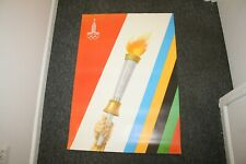 """Original 1980 Moscow Olympics Poster Torch Russia USSR 36.5"""" x 25.5"""""""