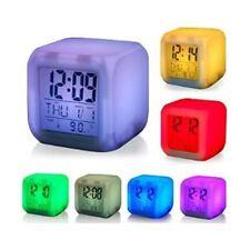 Reloj DESPERTADOR CUBO Led 7 colores cambia de color TEMPERATURA, FECHA, ALARMA