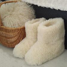 Merino's Pure Sheep Wool Boots Cozy Foot Slippers Sheepskin Womens Ladies Cream1
