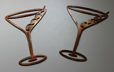 "Copper/Bronze Martini Glasses Metal Wall Art Decor Set of 2 pieces  6 1/2"" tall"