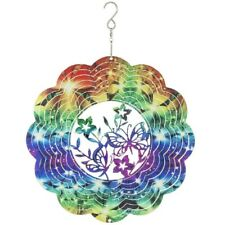 Rainbow Butterfly Kaleidoscope Steel Wind Spinner New 12 inch