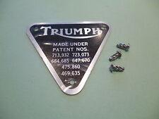 Insignia placa patente cubierta de sincronización TRIUMPH 500 650 Twins 70-4016 y Remaches UK Made