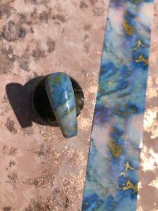 #10 100*4cm Blue Gold Marble Nail Art Foil Transfer Stickers 3D Nails Decoration