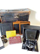 Antique Seneca 5, Folding Plate Camera, Case, Tripod& accessories,