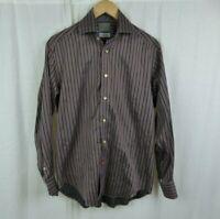 Thomas Dean Striped Long Sleeve Button Front Shirt 100% Cotton Men's Size Small
