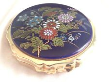 Vintage Compact Hand Painted Enamel Artist Signed Blue Gold Tone Flowers Japan