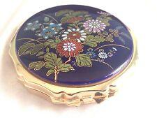 Vintage  COMPACT Hand Painted Enamel Artist Signed Blue Gold Tone Flowers JAPAN