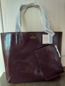 New Kate Spade New York Arch Reversible Large Patent Leather Tote Choc/pink