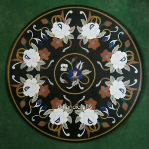 30 Inches White Stone Flowers Art Inlay Coffee Table Top Marble Patio Sofa Table