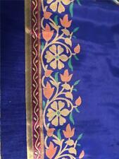 Blue Beige Gold Sari Indian Saree Bollywood Fabric Panel Drape