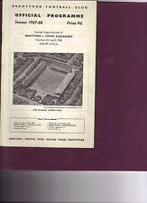 Brentford v Crewe Alexandra 1967/68 division 4
