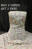 Cream Pink Purple Rose Flower Cotton print fabric material dress making crafts