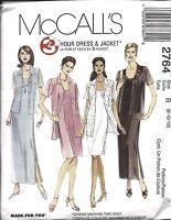 UNCUT Vintage McCalls Sewing Pattern Misses 3 Hour Dress Jacket 2764 8 10 12 OOP
