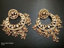Traditional Ethnic GoldTone Beads Kundan Earrings Party Chand Bali Pearl Jhumka