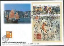 NEW ZEALAND 1997 Hong Kong Ex Year of the Ox souvenir sheet FDC............60643