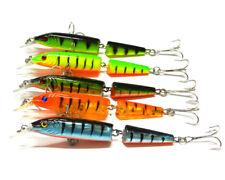 5PCs segmentos pez artificial pesca Señuelos Swimbait 2 Agudos Ganchos Cebo duro